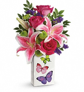 Teleflora's Brilliant Butterflies Bouquet in Dubuque IA, New White Florist