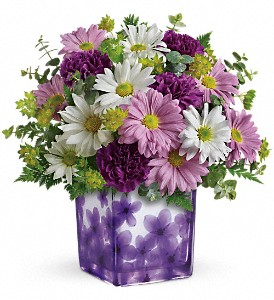 Teleflora's Dancing Violets Bouquet in Mount Morris MI, June's Floral Company & Fruit Bouquets