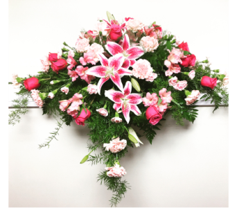 Shades of Pink Casket Spray in Wyoming MI, Wyoming Stuyvesant Floral