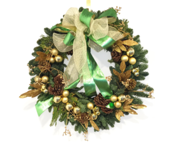 Green & Gold Holiday Wreath in Silver Spring MD, Bell Flowers, Inc