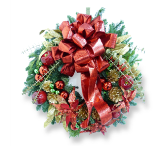 Red & Gold Holiday Wreath in Silver Spring MD, Bell Flowers, Inc