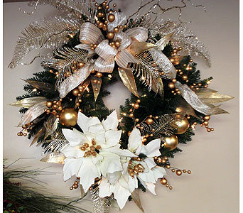 Gold & Silver Silk Wreath in Tampa FL, Buds, Blooms & Beyond