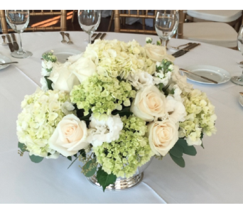 Classic White Centerpiece in Bayside NY, Bell Bay Florist