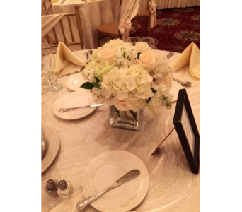 White Glass Cube centerpiece in Bayside NY, Bell Bay Florist