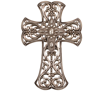 Wall Cross - Silver Delight - Open Filigree in East McKeesport PA, Lea's Floral Shop