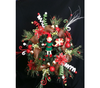 silk christmas wreath  in New Iberia LA, Breaux's Flowers & Video Productions, Inc.