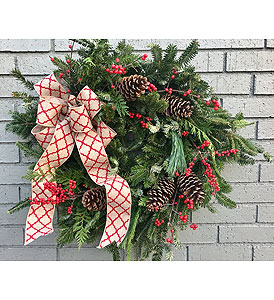 Evergreen Christmas Wreath in Charleston SC, Tiger Lily Florist Inc.