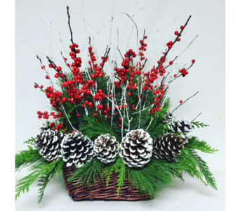 Country Christmas Basket Arrangement - All Around in Wyoming MI, Wyoming Stuyvesant Floral