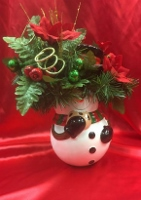 Snowman cookie jar silk arrangment  in Sitka AK, Bev's Flowers & Gifts