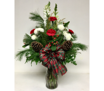 Classic Christmas Glass Vase Bouquet - All-Around in Wyoming MI, Wyoming Stuyvesant Floral