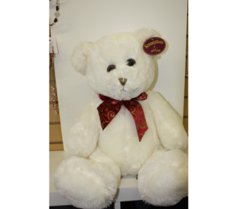 Medium White Teddy with Burgundy Bow in Medicine Hat AB, Crescent Heights Florist