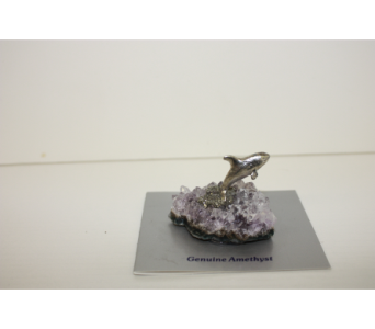 Pewter Orca on Amethyst 1 12''  in Medicine Hat AB, Crescent Heights Florist