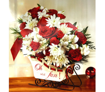 HOLIDAY TRADITIONS SLED ARRANGEMENT in Arlington VA, Twin Towers Florist