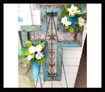 Large Wrought Iron Cross in Tyler TX, The Flower Box