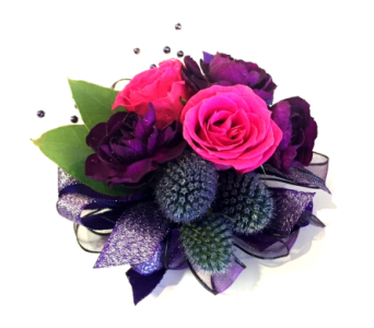 Dark Drama Wrist Corsage in Schofield WI, Krueger Floral and Gifts