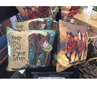 Horses on pillow  in Derby KS, Mary's Unique Floral & Gift