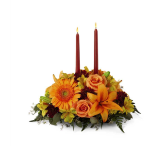 BRIGHT AUTUMN CENTERPIECE in Sycamore IL, Kar-Fre Flowers