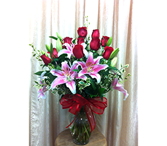 Romance Fantasy (light pink lilies) in Orange CA, Main Street Florist