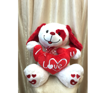 Singing Puppy with Red Heart Pillow in Orange CA, Main Street Florist