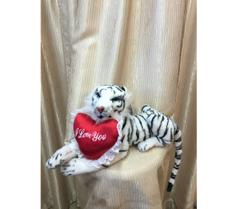 White Tiger with red heart pillow in Orange CA, Main Street Florist