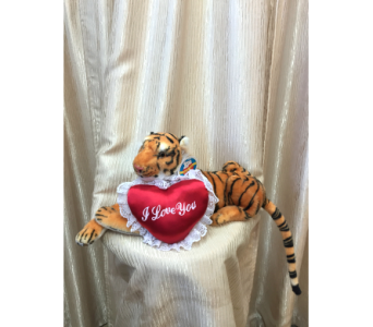 Brown Tiger with Red Heart in Orange CA, Main Street Florist