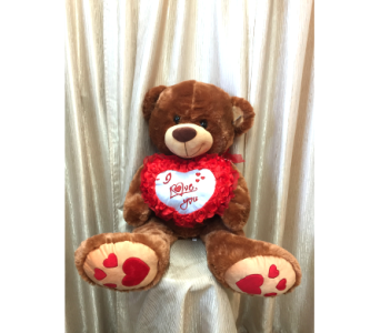 Big Honey Bear with Red Heart Pillow in Orange CA, Main Street Florist