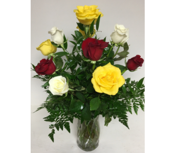Mixed Dozen Roses with Red, Yellow, and White in Wyoming MI, Wyoming Stuyvesant Floral
