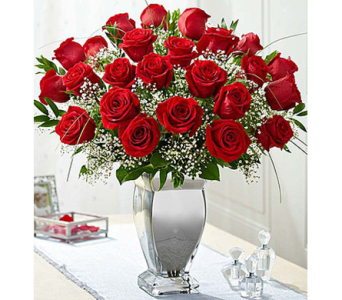 Premium Long Stem Red Roses in Silver Vase in Watertown CT, Agnew Florist