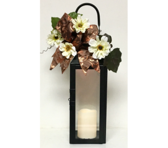 Manhattan Black Candle Lantern with Ribbon and Sil in Wyoming MI, Wyoming Stuyvesant Floral