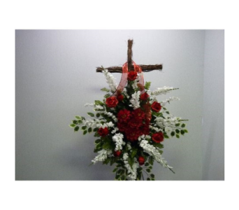 Wooden Cross in Red and White in Albertville AL, The Flower Market