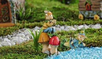 Enchanted Forest Fishing & Swimming Gnomes Figurin in Guelph ON, Patti's Flower Boutique