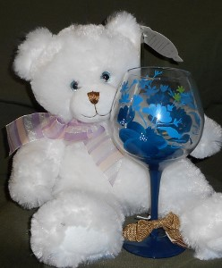 Bear with Blue Wine Glass in Skowhegan ME, Boynton's Greenhouses, Inc.