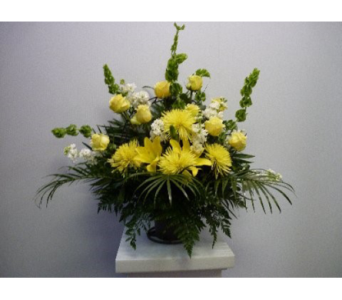 Funeral Basket yellow and White in Albertville AL, The Flower Market