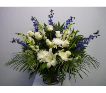 Funeral Basket in Blue and White in Albertville AL, The Flower Market