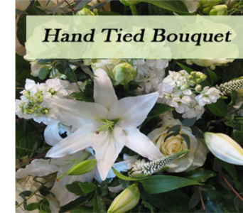 Hand tied bouquet in white & green tones  in Richmond BC, Touch of Flowers