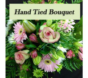 Hand tied bouquet in pink tones  in Richmond BC, Touch of Flowers