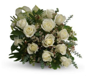 1 Dz White Roses, Hand tied & wrapped  in Richmond BC, Touch of Flowers