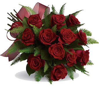 1 Dz Red Roses, Hand tied & wrapped  in Richmond BC, Touch of Flowers