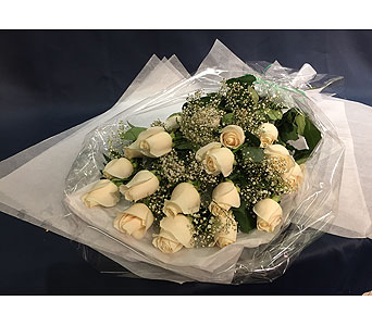 18 White Roses in Markham ON, Freshland Flowers