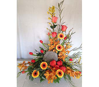 Sympathy Arrangement with Memory Stone in Crafton PA, Sisters Floral Designs