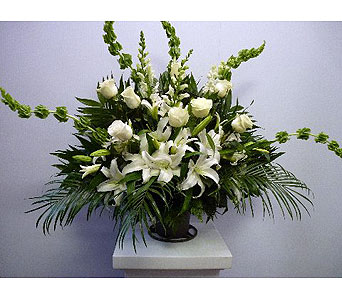Fresh funeral Basket White Lilies and Bells in Albertville AL, The Flower Market