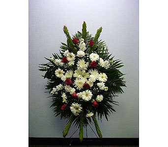 Fresh Funeral Stand in Red Rose and White in Albertville AL, The Flower Market