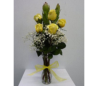 Half Dozen Yellow Roses in Albertville AL, The Flower Market