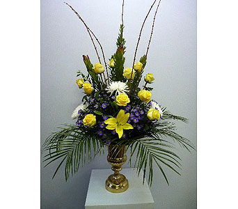 Rental Urn in Yellow White and Purple in Albertville AL, The Flower Market