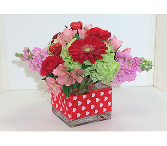 Valentines Cube in Manhasset NY, Town & Country Flowers