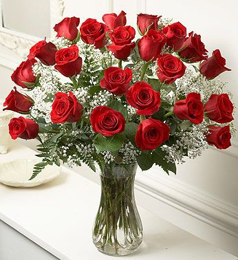 24 Red Roses with Baby's Breath in Jensen Beach FL, Brandy's Flowers & Candies