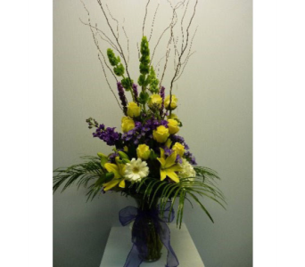 Large Garden Vase in Yellow, White and Purlple in Albertville AL, The Flower Market