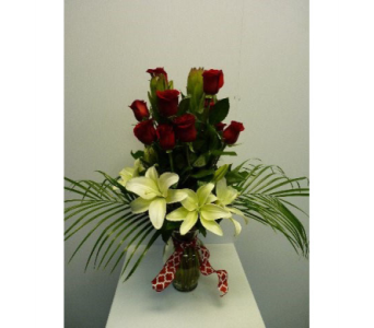 One Dozen Red Rose with White Lilies in Albertville AL, The Flower Market