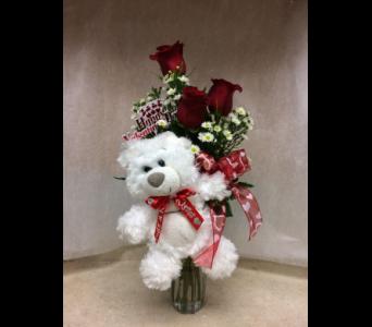 Teddy Bear Vase In Olean Ny Mandy S Flowers