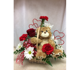 TEDDY BEAR BASKET ARRANGEMENT  in Olean NY, Mandy's Flowers